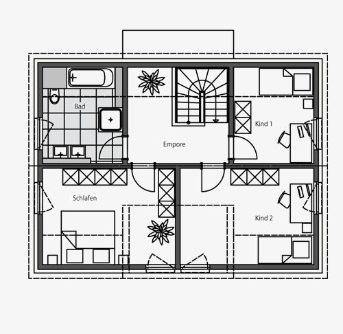 Massivhaus mit satteldach beipielplanung 2 jetzthaus for Kinderzimmer 7 qm