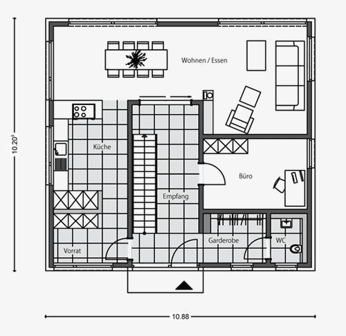 Grundriss stadtvilla 10x10  Architektenhaus Stadtvilla: Beipielplanung 2 - jetzthaus